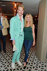 HENRY CONWAY and MELINDA MESSENGER at Henry Conway's 31st birthday party held at the Pont St Restaurant, Belgraves Hotel, London on 12th July 2014.