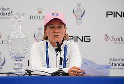 Auchterarder, Scotland, UK. 12 September 2019. Press conference with captain of Team Europe, Catriona Matthew and Team USA, Juli Inkster, to announce the pairings for the Friday Foursomes matches at the 2019 Solheim Cup. Pictured; Catriona Matthew reads to the Team Europe pairings. Iain Masterton/Alamy Live News