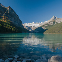 Mounts Fairview, Victoria and Whyte rise behind Lake Louise in Alberta, Canada's Banff National Park.