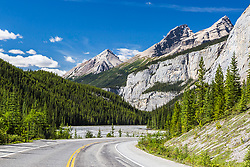 Icefields Parkway, high in the Canadian Rockies.  This is in North Banff.