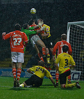 Photo: Richard Lane/Richard Lane Photography. Watford v Blackpool. Coca Cola Championship. 01/11/2008. Keeper Richard Lee fails to hold the ball leading to Blackpools goal no3