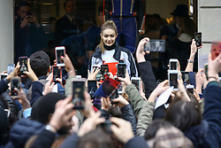 US model Gigi Hadid attends a promotional event at Hifiger Store during the fashion week, in Milan, Italy, on February 24, 2018. Photo by Marco Piovanotto/ABACAPRESS.COM