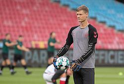 Peter Vindahl-Jensen (Danmark) under opvarmning til U21 EM2021 Kvalifikationskampen mellem Danmark og Ukraine den 4. september 2020 på Aalborg Stadion (Foto: Claus Birch).