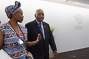 Jacob G. Zuma, President of the Republic of South Africa<br /> Presidency of South Africa is met by Elsie S. Kanza, Head of Regional Strategies - Africa, Member of the Executive Committe<br /> World Economic Forum as he arrives at the World Economic Forum on Africa 2017 in Durban, South Africa. Copyright by World Economic Forum / Greg Beadle