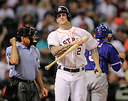 Aug 10, 2013; Houston, TX, USA; Houston Astros center fielder Brandon Barnes (2) reacts to striking out with runners on base to end the eighth inning against the Texas Rangers at Minute Maid Park. Mandatory Credit: Thomas Campbell-USA TODAY Sports