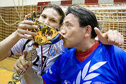 Cvijic Dragana with fan drinking champagne from cup of Krim at last 10th Round handball match of Slovenian Women National Championships between RK Krim Mercator and RK Olimpija, on May 15, 2010, in Galjevica, Ljubljana, Slovenia. Olimpija defeated Krim 39-36, but Krim became Slovenian National Champion. (Photo by Vid Ponikvar / Sportida)
