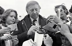 Arthur Scargill, President of the National Union of Miners, signing autographs at Mansfield May Day, UK 7 May 1984