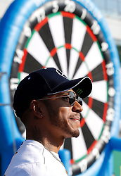 Mercedes driver Lewis Hamilton on the track, during paddock day of the 2018 British Grand Prix at Silverstone Circuit, Towcester.