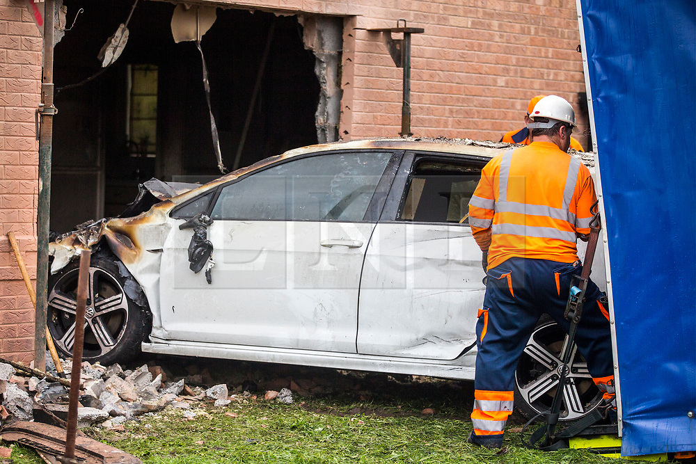 © Licensed to London News Pictures. 05/09/2017. York UK. The car that crashed into a house in York on Sunday has been removed this morning revealing the damage caused to the inside of the property. The car crashed through the wall into the living room then caught fire & caused a blaze in the the house, the crash injured four people including a man who was sat in the front room of the property at the time of the incident. Photo credit: Andrew McCaren/LNP