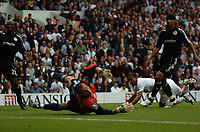 Photo: Tony Oudot.<br /> Tottenham Hotspur v Derby County. The FA Barclays Premiership. 18/08/2007.<br /> Stephen Bywater of Derby County dives in vain as Jermaine Jenas scores the third goal for Tottenham