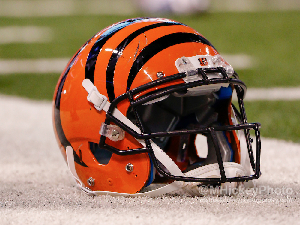 INDIANAPOLIS, IN - SEPTEMBER 3: A Cincinnati Bengals helmet is seen on the field before the game against the Indianapolis Colts at Lucas Oil Stadium on September 3, 2015 in Indianapolis, Indiana. (Photo by Michael Hickey/Getty Images)