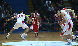 11.12.2015, Drazen Petrovic Basketball Hall, Zagreb, CRO, Basketball EL, KK Cedevita vs EA7 Emporio Armani Milan, Gruppe B, im Bild Jacob Pulle // during the group B match of the Turkish Airlines Euroleague between KK Cedevita and EA7 Emporio Armani Milan at the Drazen Petrovic Basketball Hall in Zagreb, Croatia on 2015/12/11. EXPA Pictures © 2015, PhotoCredit: EXPA/ Pixsell/ Zeljko Lukunic<br /> <br /> *****ATTENTION - for AUT, SLO, SUI, SWE, ITA, FRA only*****