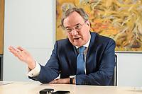 31 MAY 2021, BERLIN/GERMANY:<br /> Armin Laschet, CDU, Ministerpraesident Nordrhein-Westfalen und CDU Bundesvorsitzender, waehrend einem Interview, Landesvertretung NRW<br /> IMAGE: 20210531-01-013
