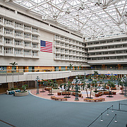 The interior at Orlando International Airport remains functional but mostly empty to air passengers due to the Coronavirus (Covid-19) outbreak on Friday, April 17, 2020 in Orlando, Florida. (Alex Menendez via AP)
