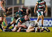 Leicester Tigers flanker Tommy Reffell protects the ball during a Gallagher Premiership Round 7 Rugby Union match, Friday, Jan. 29, 2021, in Leicester, United Kingdom. (Steve Flynn/Image of Sport)