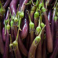 Asia, Bhutan, Trongsa. Eggplant in local market at Trongsa.