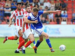 Sean Long of Cheltenham Town holds on to Steve Seddon of Birmingham City - Mandatory by-line: Nizaam Jones/JMP - 21/07/2018 - FOOTBALL - Jonny-Rocks Stadium - Cheltenham, England - Cheltenham Town v Birmingham City - Pre-season friendly