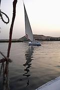 Sailing felucca on Nile River, Aswan, Egypt