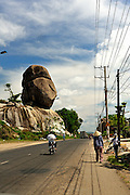 Huge rock formations by the side of the road, Dinh Quan District, Dong Nai Province, Vietnam