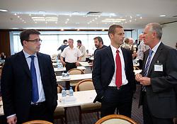 Ales Zavrl of NZS, Aleksander Ceferin, president of NZS and Branko Florjanic of 1. SNL at  PrvaLiga draw before new football season 2011/2012 in Slovenia, on June 23, 2011, in Hotel Kokra, Brdo pri Kranju, Slovenia. (Photo by Vid Ponikvar / Sportida)