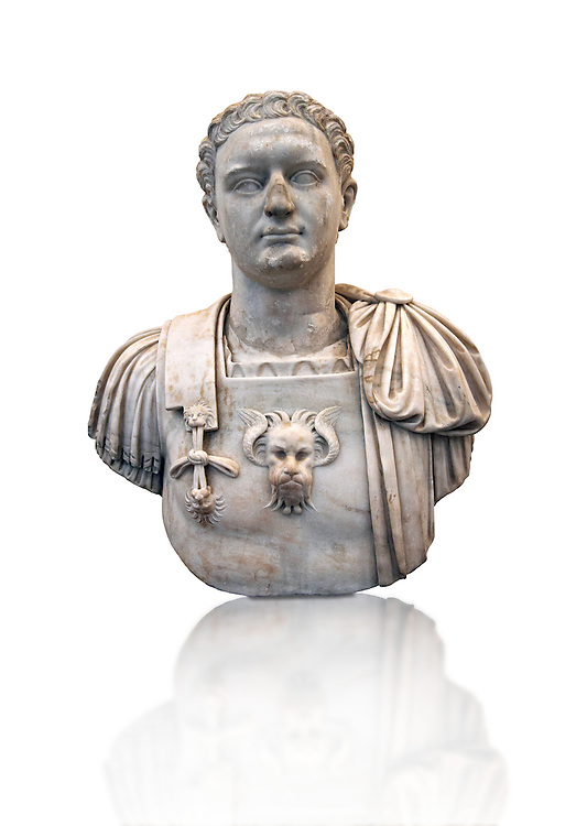 Roman marble sculpture bust of Emperor Domitian  81-96 AD, inv 6061, Museum of Archaeology, Italy ..<br /> <br /> If you prefer to buy from our ALAMY STOCK LIBRARY page at https://www.alamy.com/portfolio/paul-williams-funkystock/greco-roman-sculptures.html . Type -    Naples    - into LOWER SEARCH WITHIN GALLERY box - Refine search by adding a subject, place, background colour, etc.<br /> <br /> Visit our ROMAN WORLD PHOTO COLLECTIONS for more photos to download or buy as wall art prints https://funkystock.photoshelter.com/gallery-collection/The-Romans-Art-Artefacts-Antiquities-Historic-Sites-Pictures-Images/C0000r2uLJJo9_s0