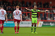 Forest Green Rovers Keanu Marsh-Brown(7) claims a corner during the EFL Sky Bet League 2 match between Stevenage and Forest Green Rovers at the Lamex Stadium, Stevenage, England on 21 October 2017. Photo by Adam Rivers.