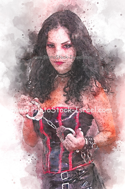 Digitally enhanced image of a A model wearing Vinyl fetish style clothes holding a pair of handcuff