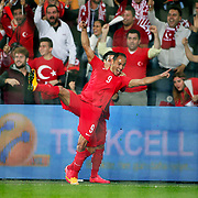 Turkey's Umut Bulut (F) celebrate his goal with team mate during their UEFA Euro 2016 qualification Group A soccer match Turkey betwen Czech Republic at Sukru Saracoglu stadium in Istanbul October 10, 2014. Photo by Aykut AKICI/TURKPIX