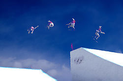 February 12, 2018 - Pyeongchang, South Korea - Jessica Jenson of USA in this in camera mulitiple exposure action off the final jump  during Ladies Slopestyle Final at the 2018 Pyeongchang Winter Olympics. (Credit Image: © Daniel A. Anderson via ZUMA Wire)