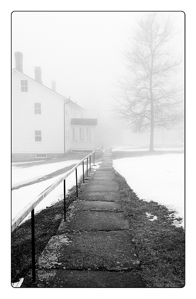 """Award Winning Image """"I Remember"""" <br /> <br /> Fog and snow illuminate a granite walkway at Canterbury Shaker Village, NH.<br /> <br /> <br /> <br /> All Content is Copyright of Kathie Fife Photography. Downloading, copying and using images without permission is a violation of Copyright."""