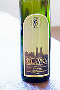 Bottle of Medugorska Zilavka white wine 1999. Label detail. Podrum Vinoteka Sivric winery, Citluk, near Mostar. Federation Bosne i Hercegovine. Bosnia Herzegovina, Europe.