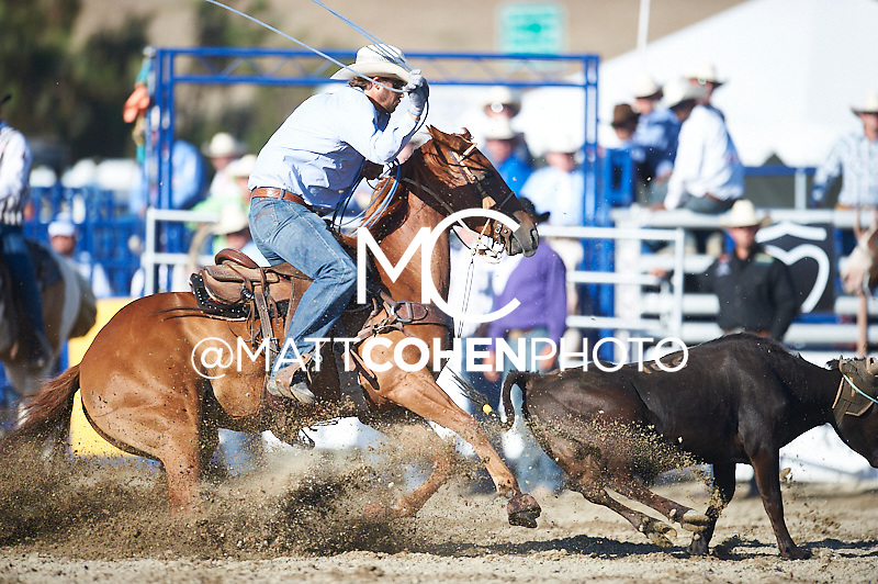 Team roper Jeremy Buhler of Arrowwood, AB competes at the Rancho Mission Viejo Rodeo in San Juan Capistrano, CA.<br /> <br /> <br /> UNEDITED LOW-RES PREVIEW<br /> <br /> <br /> File shown may be an unedited low resolution version used as a proof only. All prints are 100% guaranteed for quality. Sizes 8x10+ come with a version for personal social media. I am currently not selling downloads for commercial/brand use.