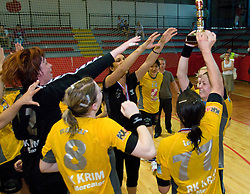 Players of Krim celebrate at the Final handball game of the Slovenian Women handball Championship between RK Krim Mercator and RK Olimpija when Krim Mercator won the Championship and became Slovenian National Champion 15 times every year, on May 23, 2009, Kodeljevo, Ljubljana, Slovenia.  (Photo by Klemen Kek / Sportida)