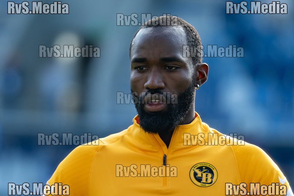 LAUSANNE, SWITZERLAND - SEPTEMBER 22: Nicolas Moumi Ngamaleu #13 of BSC Young Boys looks on before the Swiss Super League match between FC Lausanne-Sport and BSC Young Boys at Stade de la Tuiliere on September 22, 2021 in Lausanne, Switzerland. (Photo by Basile Barbey/RvS.Media/)