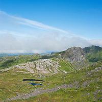Rugged mountain landscape in summer, near Justadtind, Vestvagoy, Lofoten islands, Norway