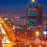 Здание Газпрома в Оренбурге на ул.Чкалова вечером