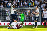 Football - 2021 / 2022 Premier League - Tottenham Hotspur vs Aston Villa - Tottenham Hotspur Stadium - Sunday 3rd October 2021<br /> <br /> Emerson (Tottenham Hotspur) leaps over Jacob Ramsey (Aston Villa) as he slides in to the tackle <br /> <br /> COLORSPORT/DANIEL BEARHAM
