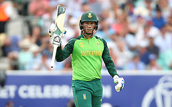 South Africa's Rassie van der Dussen celebrates a half-century during the ICC Cricket World Cup group stage match at The Oval, London.