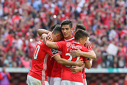 May 13, 2017 - Lisbon, Lisbon, Portugal - Benficas forward Jonas from Brazil celebrating with is team mate after scoring a goal during the Premier League 2016/17 match between SL Benfica v Vitoria Guimaraes, at Luz Stadium in Lisbon on May 13, 2017. (Credit Image: © Dpi/NurPhoto via ZUMA Press)