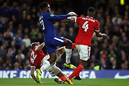 Michy Batshuayi of Chelsea © tries to go past  Michael Mancienne of Nottingham Forest (R) & Joe Worrall of Nottingham Forest (L). Carabao Cup 3rd round match, Chelsea v Nottingham Forest at Stamford Bridge in London on Wednesday 20th September 2017.<br /> pic by Steffan Bowen, Andrew Orchard sports photography.