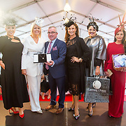 08.10.17.            <br /> Pictured at Limerick Racecourse for the Keanes Most Stylish Lady competition, left to right, Judge Sinead O'Brien, 1st place Lesley Teehan from Kilkenny, Aidan Liddy, Keanes Jewellers, Celia Holman Lee, Second prize, Nadine Smith, Abbeyfeale, Co. Limerick,  and 3rd, Diana Hillard, Listowel. Picture: Alan Place