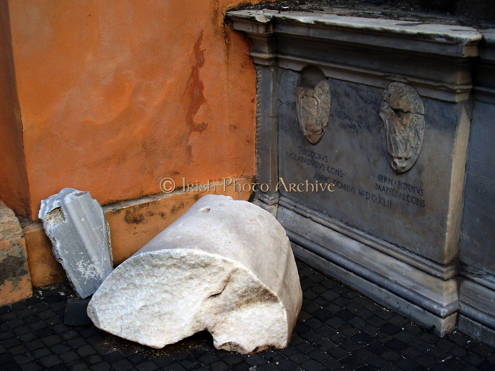 Detail from the Colossus of Constantine, an acrolithic statue that once occupied the Basilica of Maxentius in Rome. Portions of this colossal statue (A head, arm, knee and hand.) of Emperor Constantine now reside in the Palazzo dei Conservatori. Carved from white marble. Circa 312-315 AD.