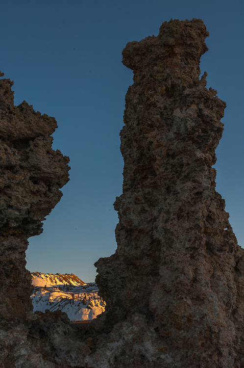 Tufa towers, April, evening light, Mono Lake State Natural Reserve, eastern Sierra Mountains, Inyo County, California, USA