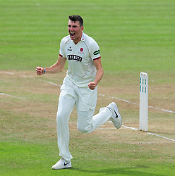 Craig Overton of Somerset celebrates the wicket of Keaton Jennings.  - Mandatory by-line: Alex Davidson/JMP - 05/08/2016 - CRICKET - The Cooper Associates County Ground - Taunton, United Kingdom - Somerset v Durham - County Championship - Day 2