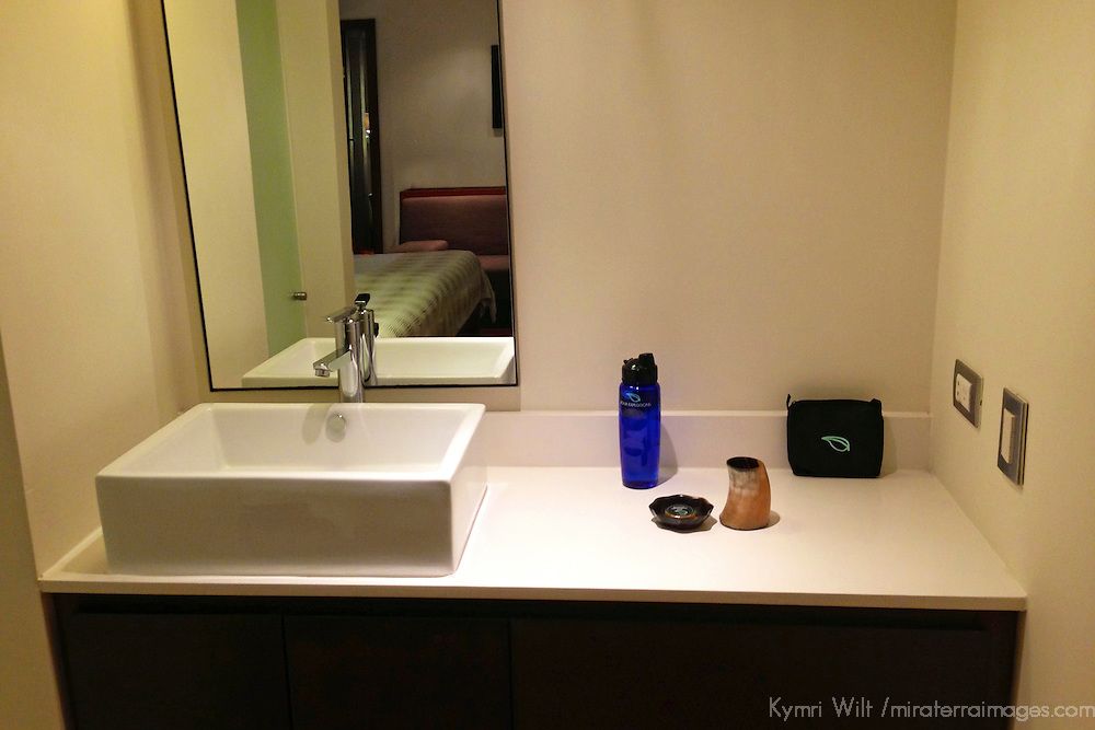 South America, Peru, Amazon. M/V Aria luxury cruise stateroom vanity sink.