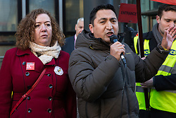 London, UK. 22nd January, 2019. Henry Chango-Lopez, President of the Independent Workers Union of Great Britain (IWGB), addresses support staff at the Department for Business, Energy and Industrial Strategy (BEIS) represented by the Public and Commercial Services (PCS) union on the picket line after beginning a strike for the London Living Wage of £10.55 per hour and parity of sick pay and annual leave allowance with civil servants. The strike is being coordinated with receptionists, security staff and cleaners at the Ministry of Justice (MoJ) represented by the United Voices of the World (UVW) trade union.