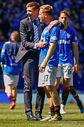 Rangers Manager Steven Gerrard  with winning goal scorer Scott Arfield during the Ladbrokes Scottish Premiership match between Rangers and Celtic at Ibrox, Glasgow, Scotland on 12 May 2019.