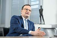 05 MAY 2021, BERLIN/GERMANY:<br /> Jens Spahn, CDU, Bundesgesundheitsminister, wahrend einem Interview, in seinem Buero, Bundesministerium fur Gesundheit<br /> IMAGE: 202105005-01-012