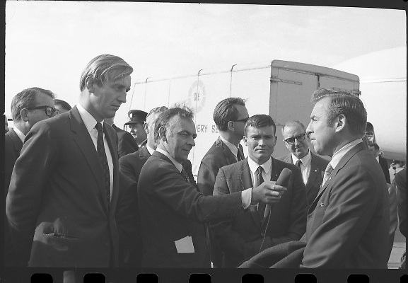 American Astronauts visit Dublin.<br /> 1970.<br /> 13.10.1970.<br /> 10.13.1970.<br /> 13th October 1970.<br /> The Astronauts of the Apollo 13 moon mission visited Ireland as part of a European tour. James Lovell, John Swigert and Fred Haise were on a planned landing on the lunar surface ,when two day after blast off on 11 April 1970 an explosion aboard the craft resulted in one of the most amazing missions in the Apollo series. The explosion placed the crew in severe danger and it was only through much skill and courage that the astronauts managed to make emergency repairs to enable them to return home. Up until they returned on 17th April the world held its breath as the astronauts fought their way back to Earth.<br /> <br /> Commander Lovell meets with a nun outside the terminal building at Dublin Airport.