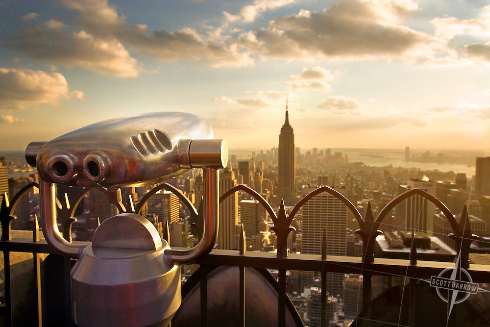 The Empire State Building and lower Manhattan from the Top Of The Rock Observation Deck at  30 Rockefeller Center.